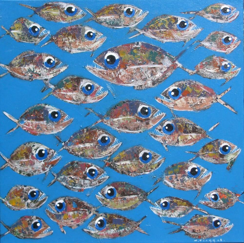 Toile bleue poissons piranhas
