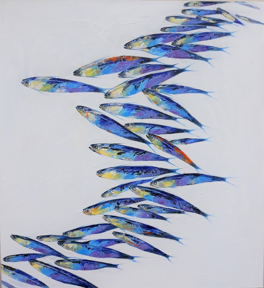 Banc de poissons fond blanc- tableau moderne 130x120 cm