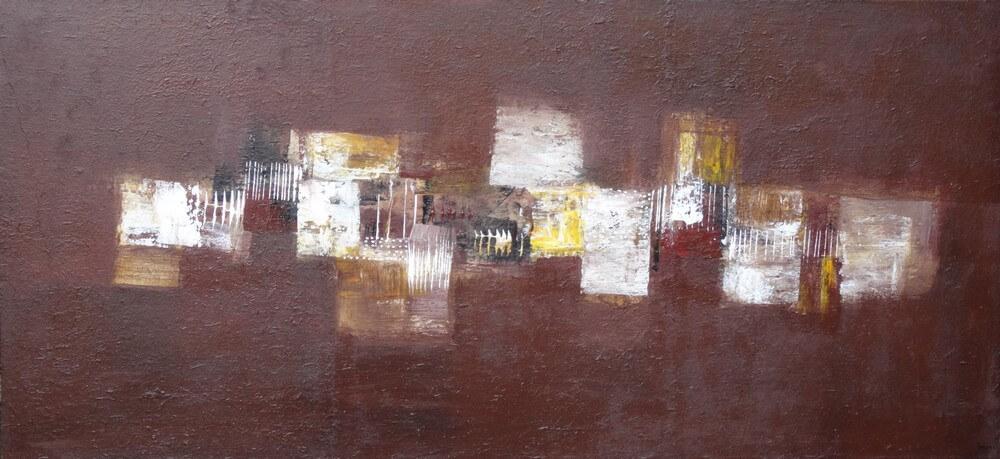 Tableau contemporain horizontal marron-130x60 cm- Suarsa