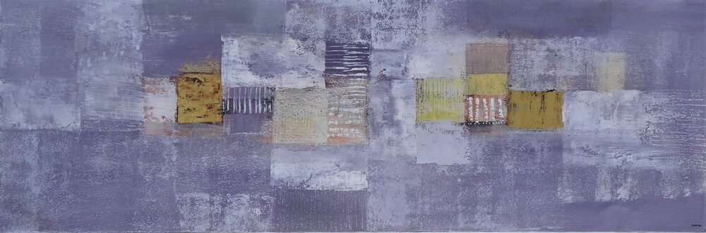 Tableau abstrait horizontal gris-violet-or 150x50 cm