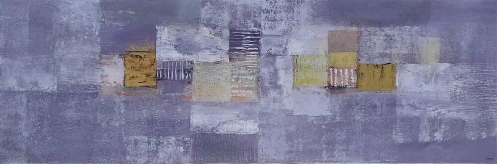Tableau abstrait horizontal gris-violet-or 150x50 cm