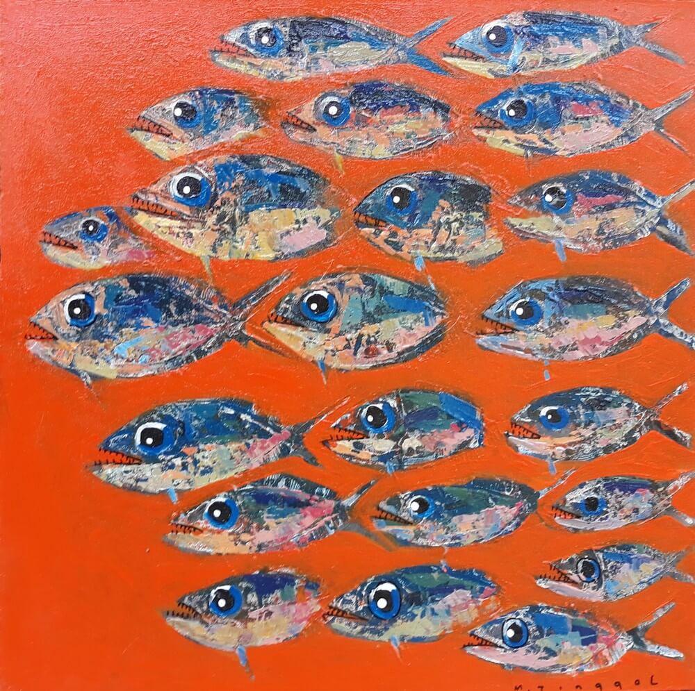 Tableau cuisine decoratif poissons fond orange 60x60 cm