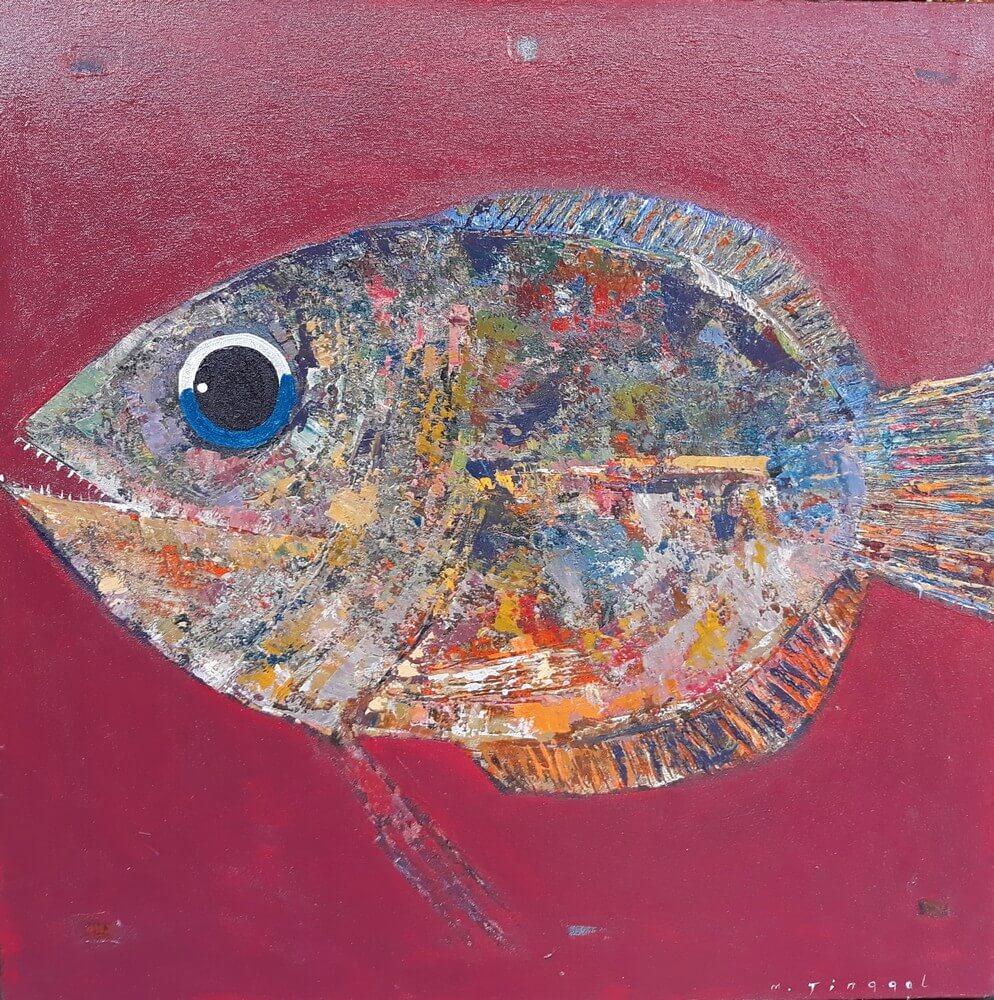 Tableau peinture gros poisson fond rouge bordeaux 80x80 cm