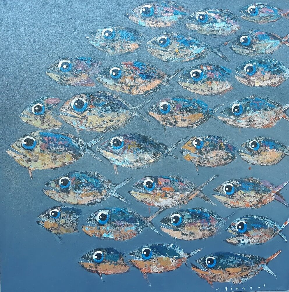 Toile sur cadre piranhas gris 90x90 cm