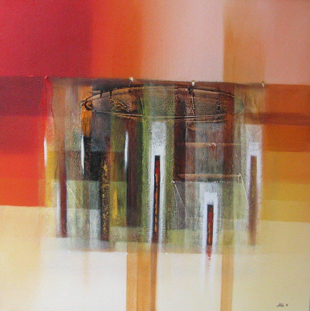 Tableau abstrait ton orange 80x80 cm