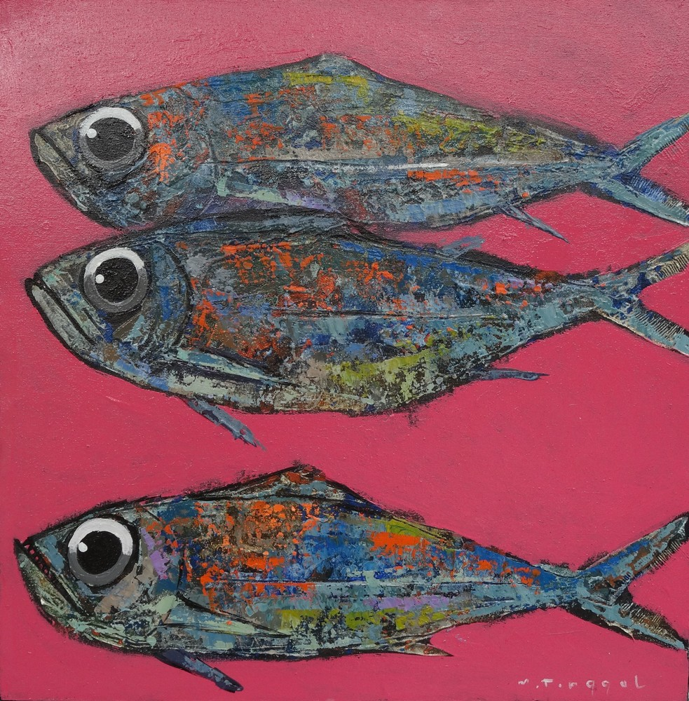 poissons fond rose
