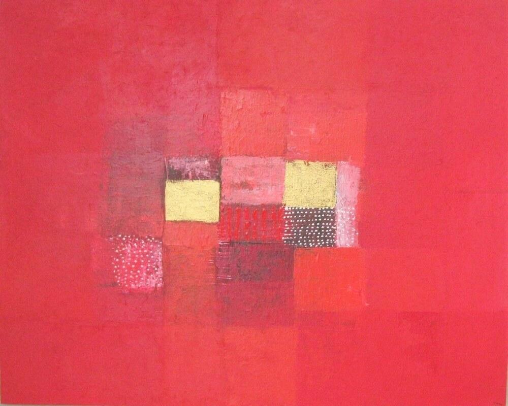 Tableau rouge abstrait 100x80 cm
