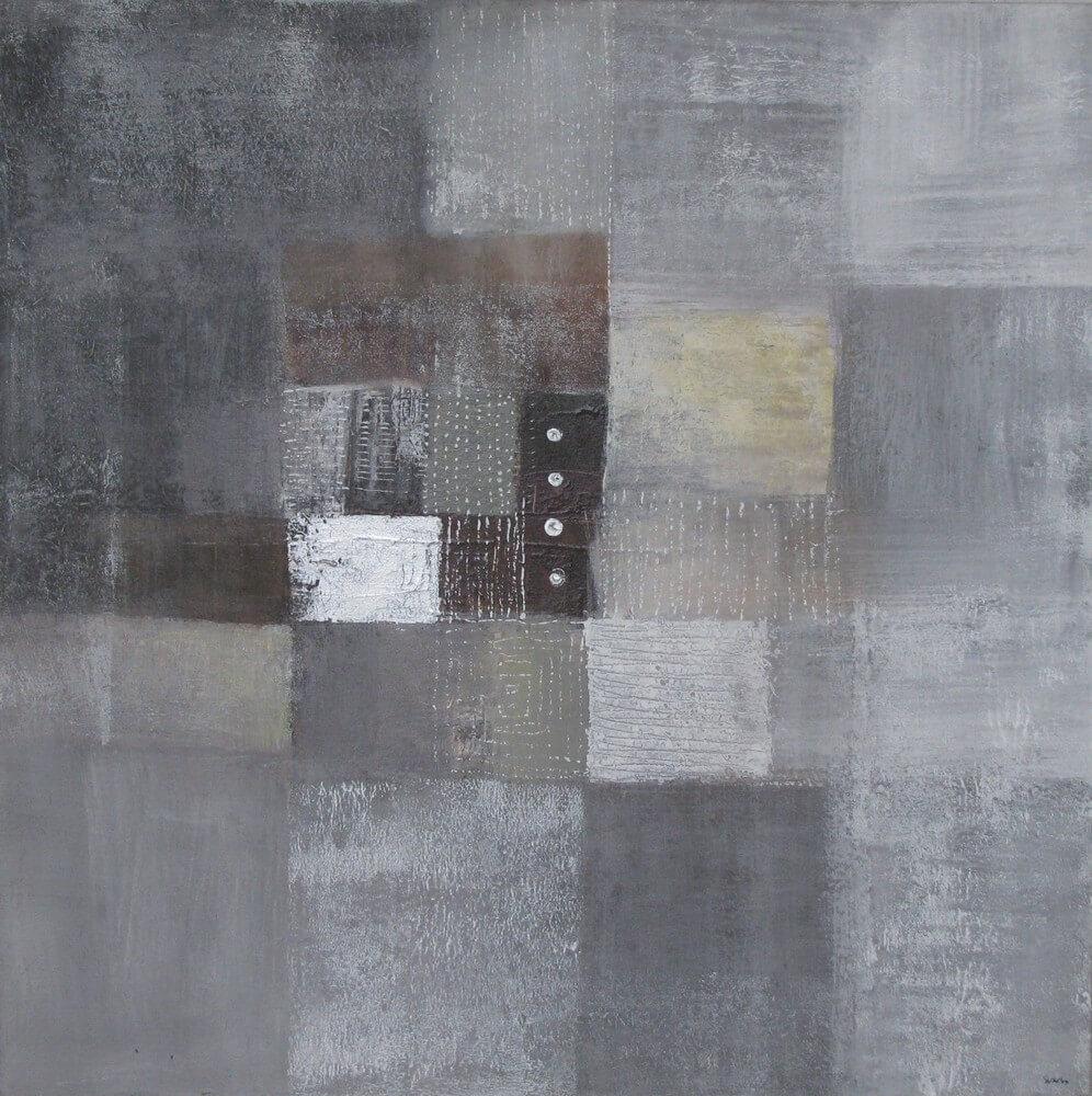 Tableau abstrait gris 80x80 cm