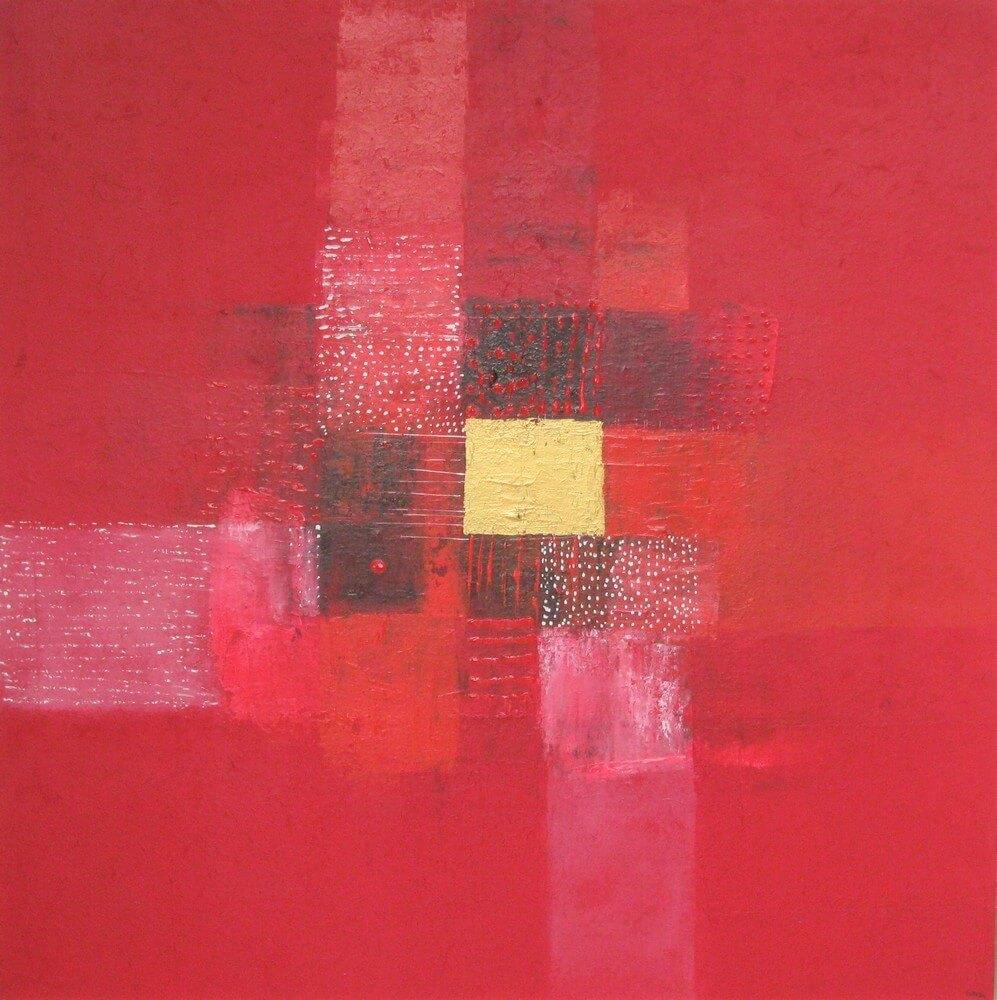 Tableau abstrait rouge 90x90 cm