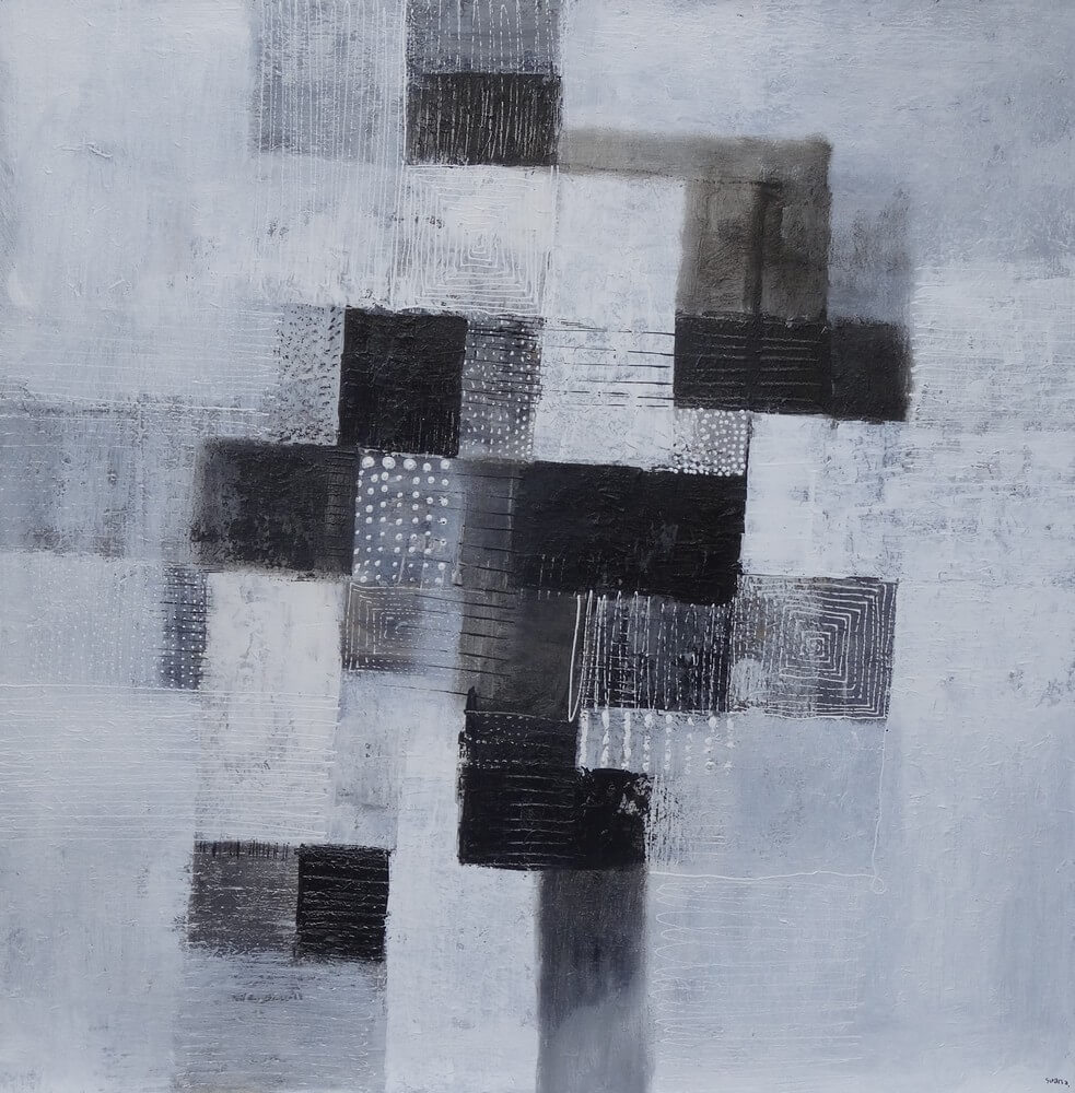 Tableau abstrait blanc noir 100x100 cm