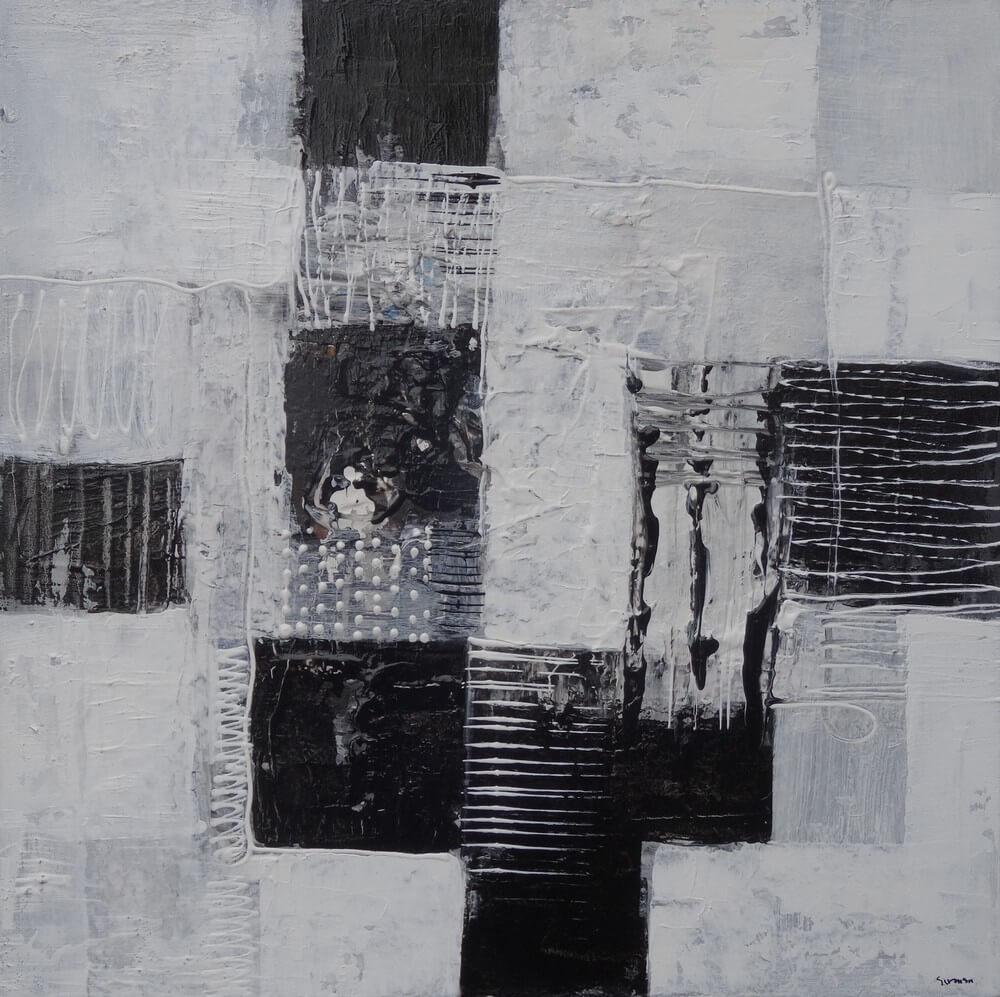 Tableau abstrait blanc noir 40x40 cm