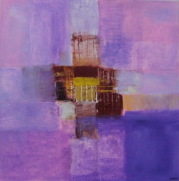 Petit tableau violet 40x40 cm