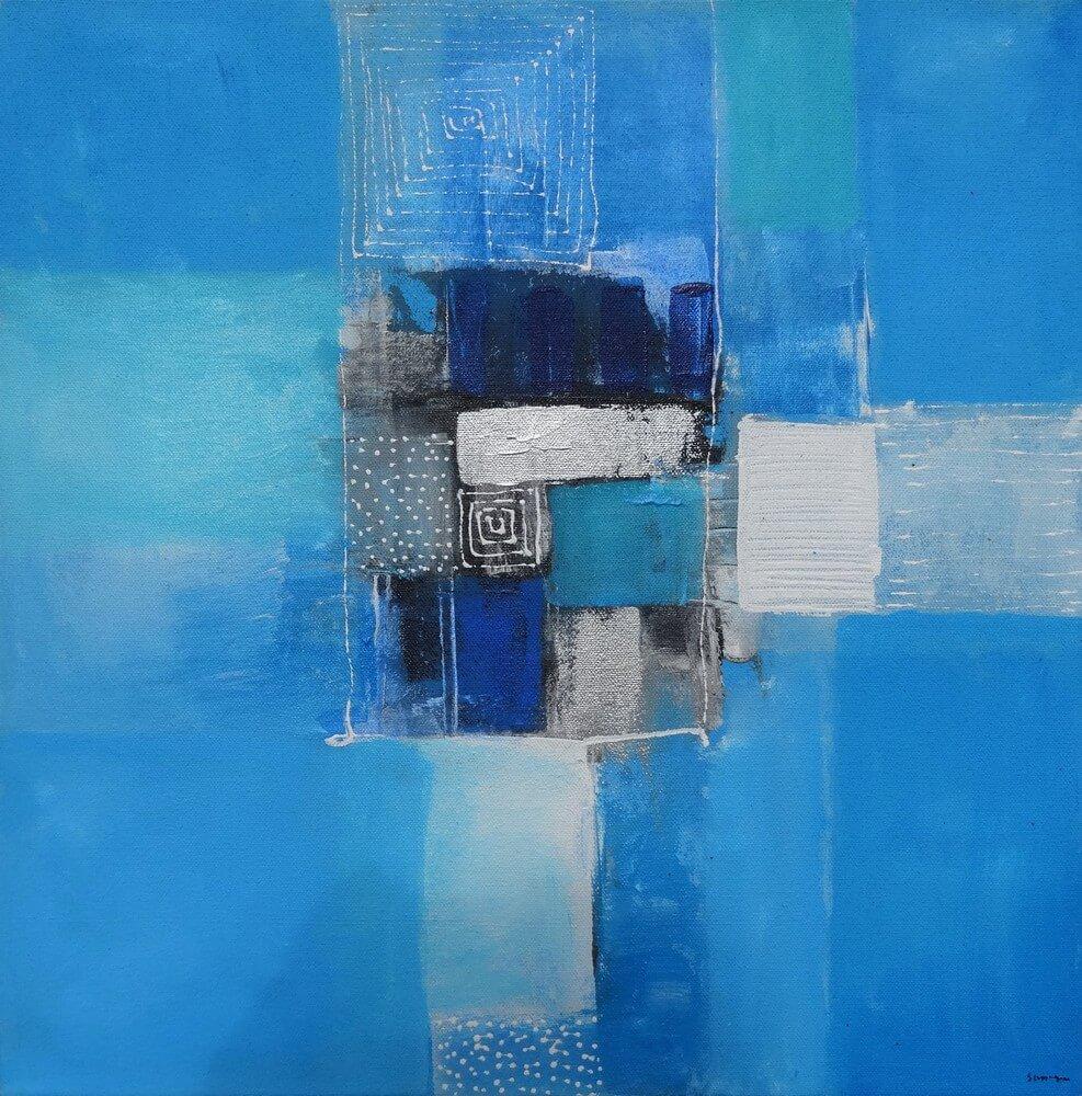 Petit tableau bleu 50x50 cm