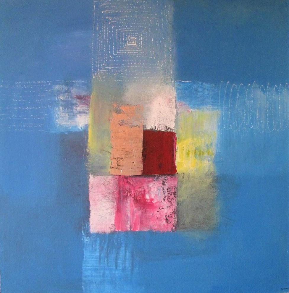 Tableau bleu abstrait azur 80x80 cm