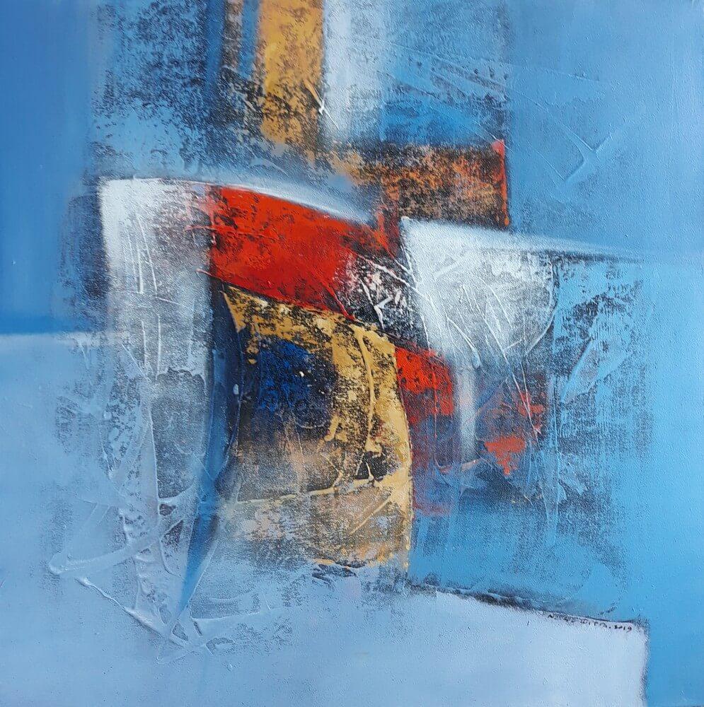 Tableau abstrait ton bleu