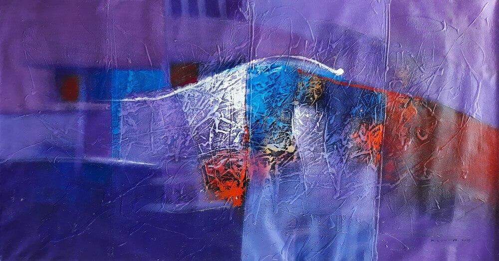 Tableau ton violet 150x80 cm