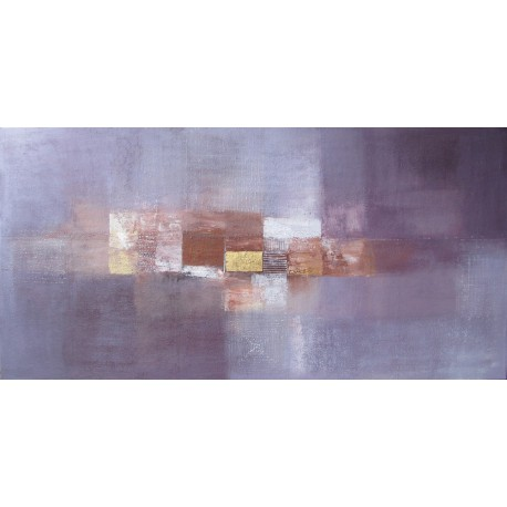 Tableau contemporain grand format violet lavande panoramique - 200x100 - Suarsa