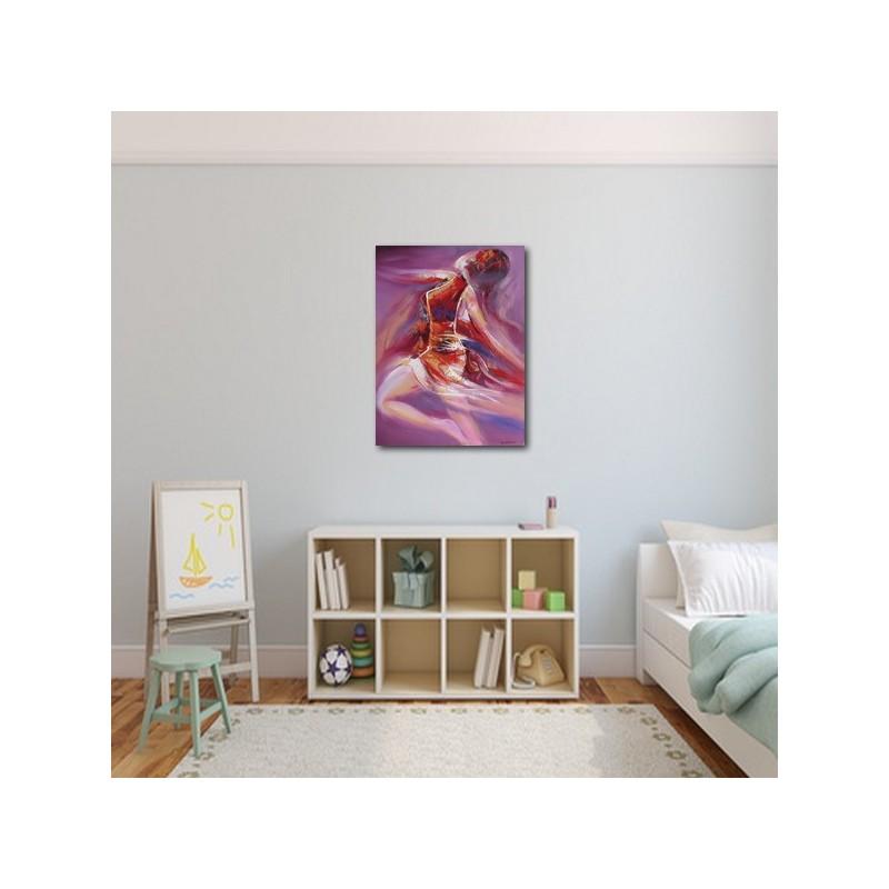 idee deco chambre peinture danseuse sur fond violet 80x60 cm. Black Bedroom Furniture Sets. Home Design Ideas