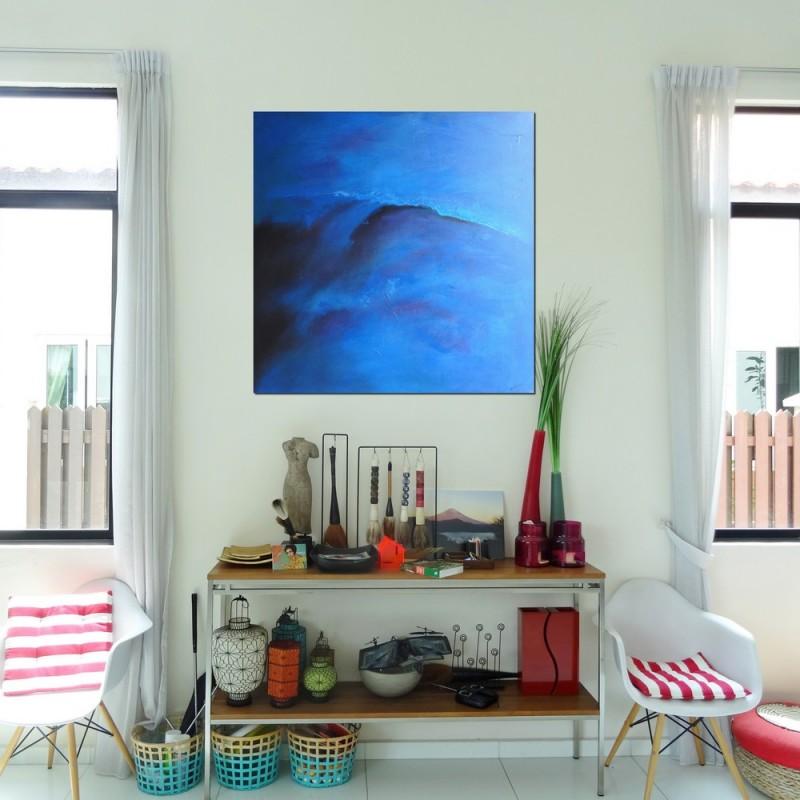 tableau abstrait bleu 120x120 id e d co chambre et salon. Black Bedroom Furniture Sets. Home Design Ideas