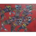 Tableau peinture chat- 90x70 cm