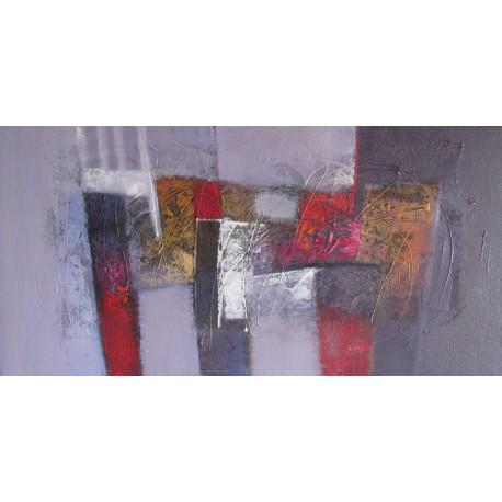 Toile abstraite horizontale pourpre- 120x60 cm- Suwitra