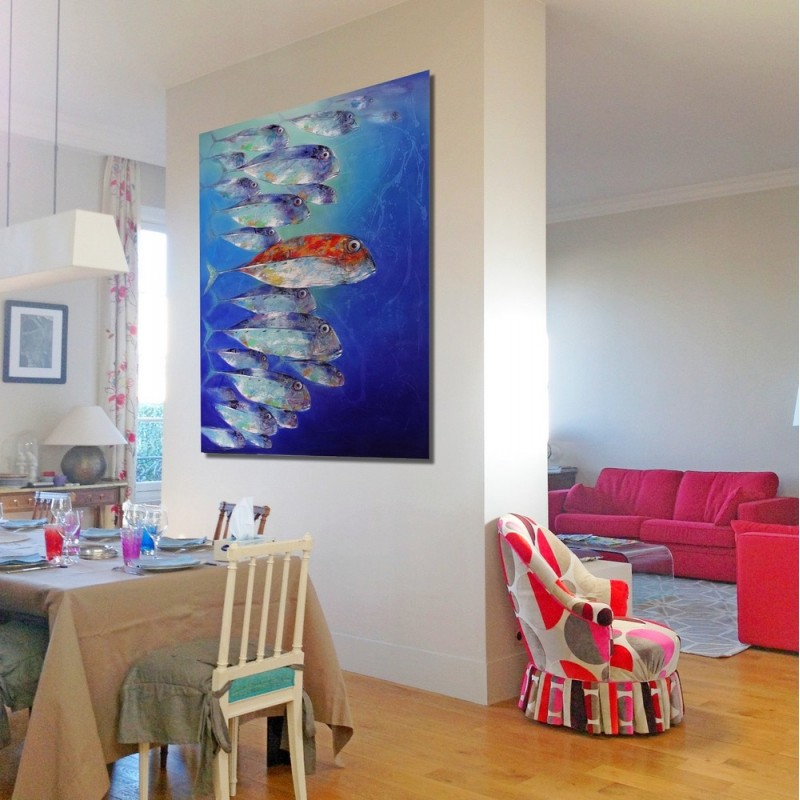 Banc de poissons peinture grand format vertical 180x120 cm - Tableau grand format contemporain ...