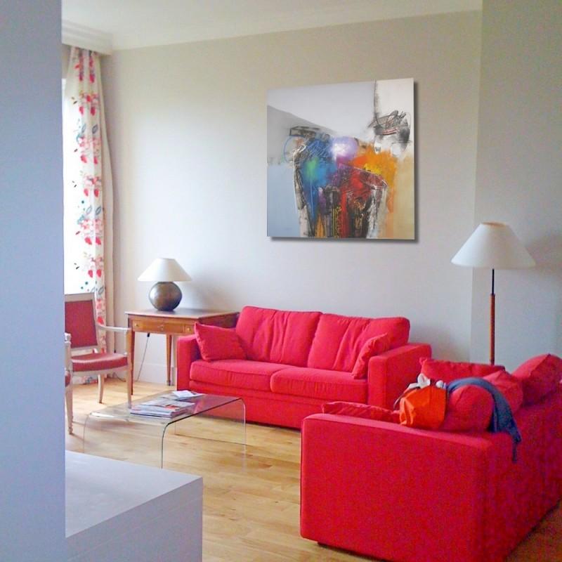 tableau abstrait xl style graphique contemporain 140x140 sumadi. Black Bedroom Furniture Sets. Home Design Ideas