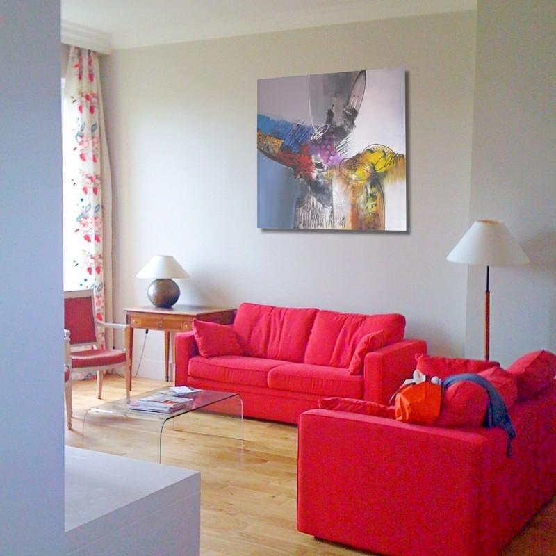 Tableau abstrait grand format design 140x140 sumadi d co escalier - Grand tableau design ...