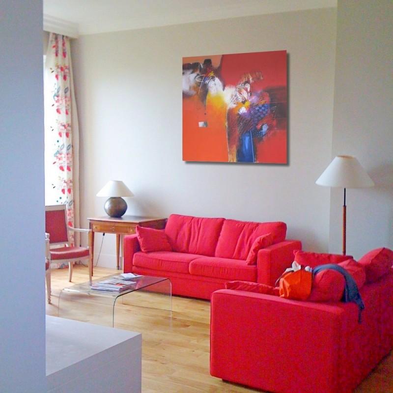 Tableau deco grande taille rouge orange 140x140 cm sumadi - Tableau grande taille design ...