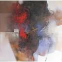 Tableau abstrait contemporain carré- 90x90 cm- Suwitra