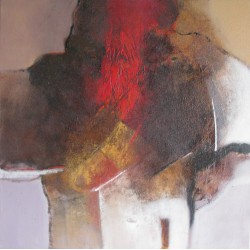 TABLEAU ABSTRAIT CONTEMPORAIN A DOMINANTE MARRON 90x90 CM - Suwitra