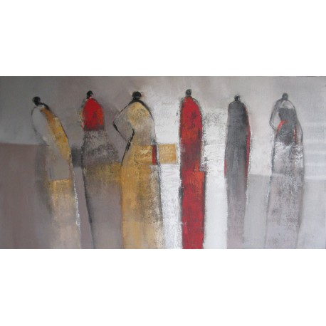 Toile abstraite horizontale silhouettes- 150x80 cm- Suwitra