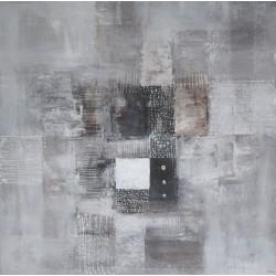 Toile contemporaine carrée ton gris perle -90x90- Suarsa