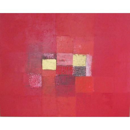 Toile abstraite rouge -100x80 - Artiste Suarsa