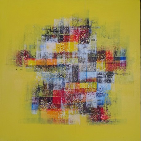 TABLEAU ABSTRAIT MOSAIQUE DE COULEURS FOND JAUNE- 60x60 cm