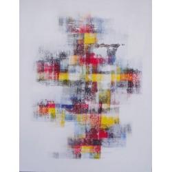 TABLEAU ABSTRAIT MOSAIQUE DE COULEURS FOND BLANC- 70x90 cm