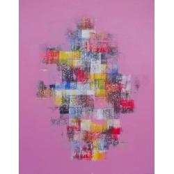 TABLEAU ABSTRAIT MOSAIQUE DE COULEURS FOND ROSE- 70x90 cm