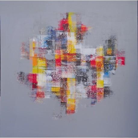TABLEAU ABSTRAIT MOSAIQUE DE COULEURS FOND GRIS- 80x80 cm