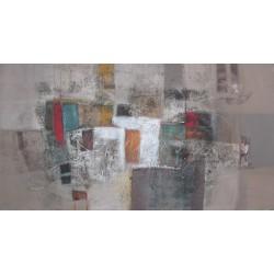 Tableau abstrait horizontal ton brun - 150x80 cm - Suwitra