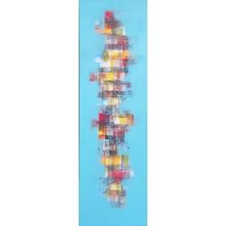 TABLEAU ABSTRAIT BLEU VERTICAL MOSAIQUE DE COULEURS - 40x130 cm