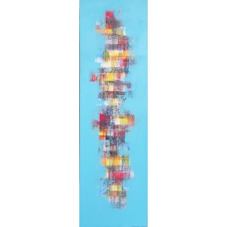 Tableau abstrait moderne bleu vertical 40x130 cm