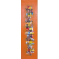 TABLEAU ABSTRAIT ORANGE VERTICAL - 40x140 cm