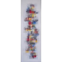TABLEAU ABSTRAIT BLANC VERTICAL - 50x150 cm