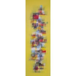 TABLEAU ABSTRAIT JAUNE VERTICAL - 50x150 cm
