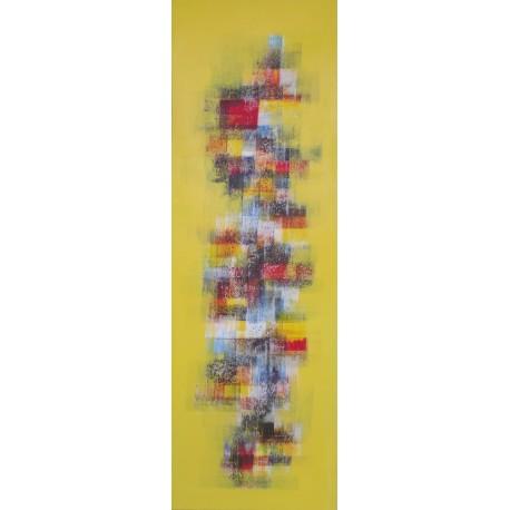 Tableau abstrait vertical jaune et rouge 50x150 cm