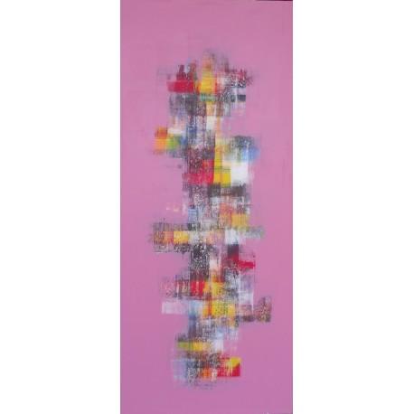 TABLEAU ABSTRAIT ROSE VERTICAL - 60x140 cm