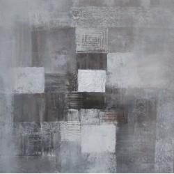 Tableau abstrait gris  -70x70 cm- Artiste Suarsa