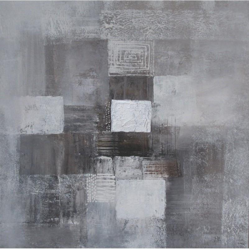 Tableau abstrait gris 70x70 cm artiste suarsa for Tableau bleu et gris
