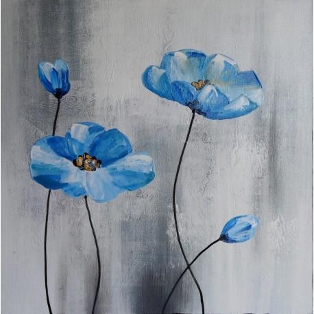 Tableau carré fleurs bleues - 70x70 cm