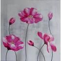 Tableau carré fleurs roses - 70x70 cm